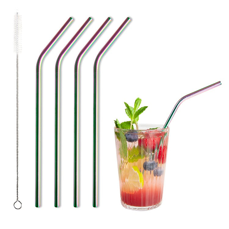 Barbaydos Bent Metallic Straws, Set of 4 - Rainbow