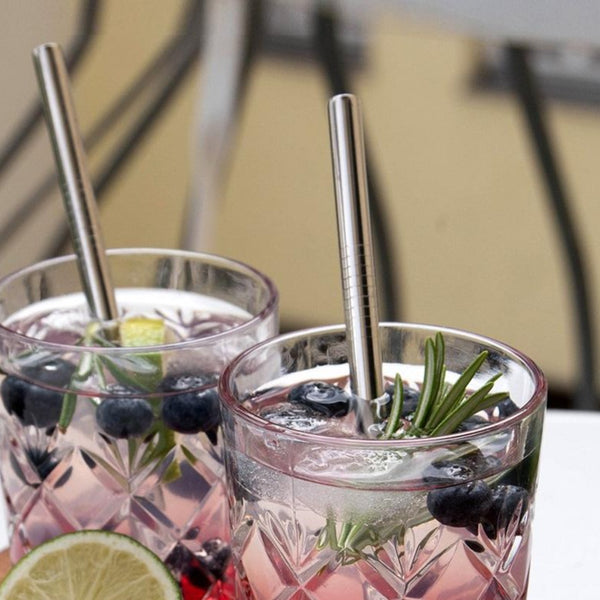 Barbaydos Short Metallic Straws, Set of 4 - Silver