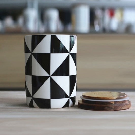 Storage Jar with Lid - Checkers