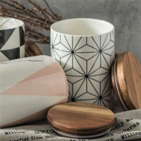 Patterned Storage Jar with Lid - Geometric White