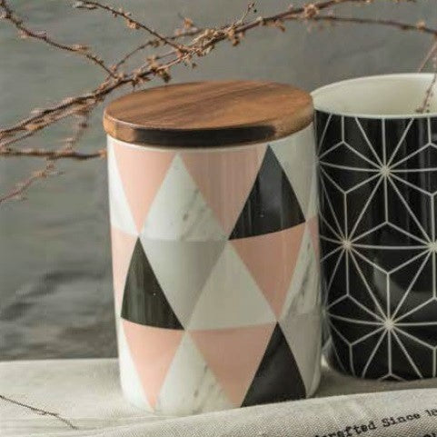 Patterned Storage Jar with Lid - Triangles