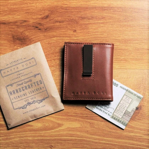 Leather Money Clip Wallet - Tan