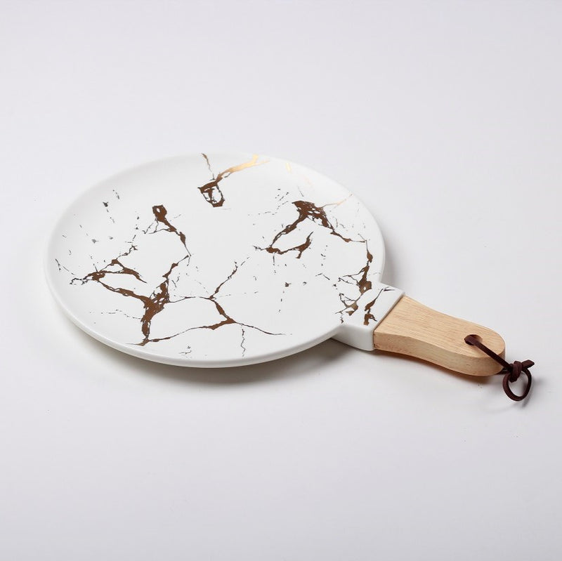 Tapas Ceramic Serving Paddle - White Marble