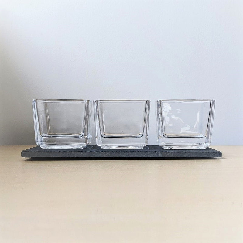 Glass Tealight Holders with Slate Board