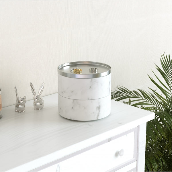 Tesora Storage Box, White Resin