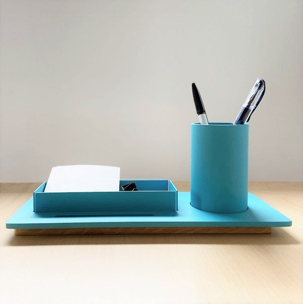 Three Desk Organiser - Cyan Blue