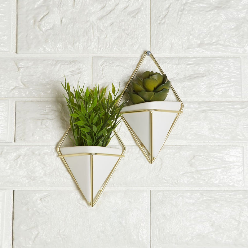 Trigg Wall Vessel Small Set of 2 - White Brass