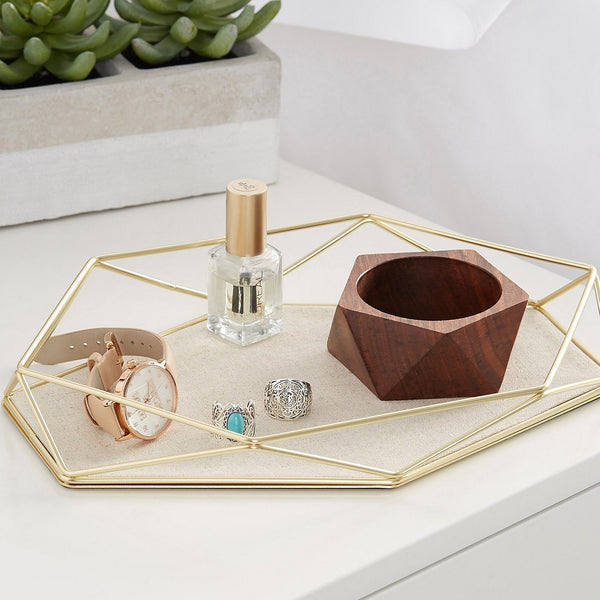 Geometric Jewellery Tray - Brass