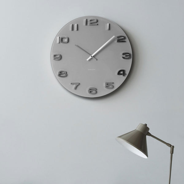 Vintage Glass Wall Clock - Grey