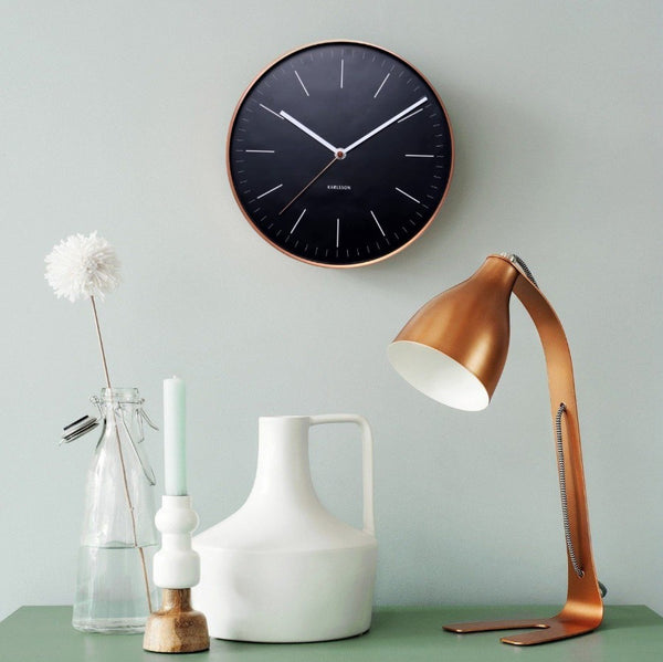 Minimal Black Copper Wall Clock