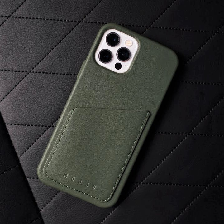 Full Leather Wallet Case for iPhone 12 & 12 Pro - Slate Green