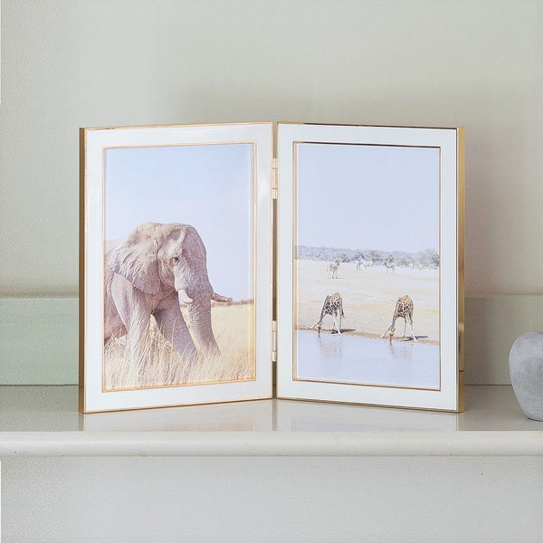 White Enamel & Gold Double Frame - 5x7