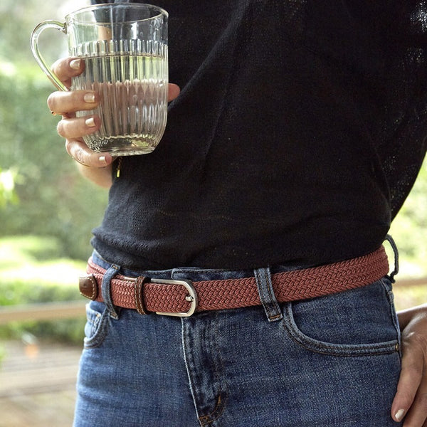 Slim Braided Belt - Rosewood