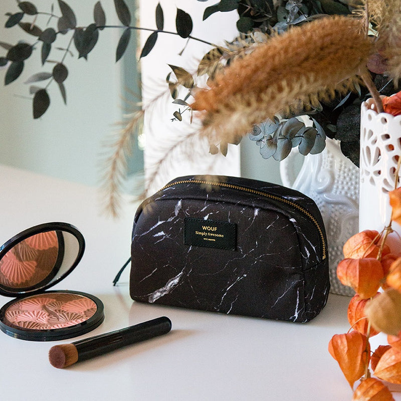 Black Marble Large Beauty Bag