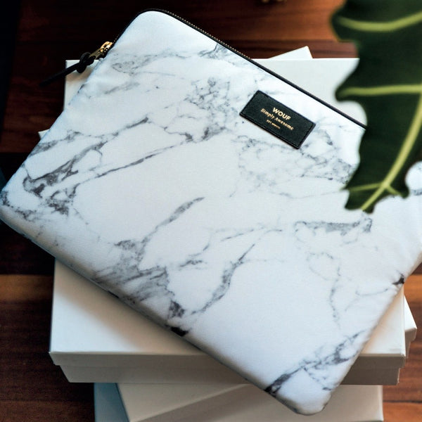 White Marble Tablet Sleeve