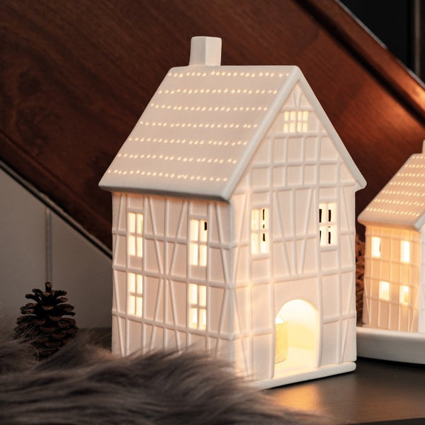 Timbered House Tealight Holder and Sculpture - Medium