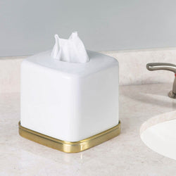 York Tissue Box Holder - White Brass