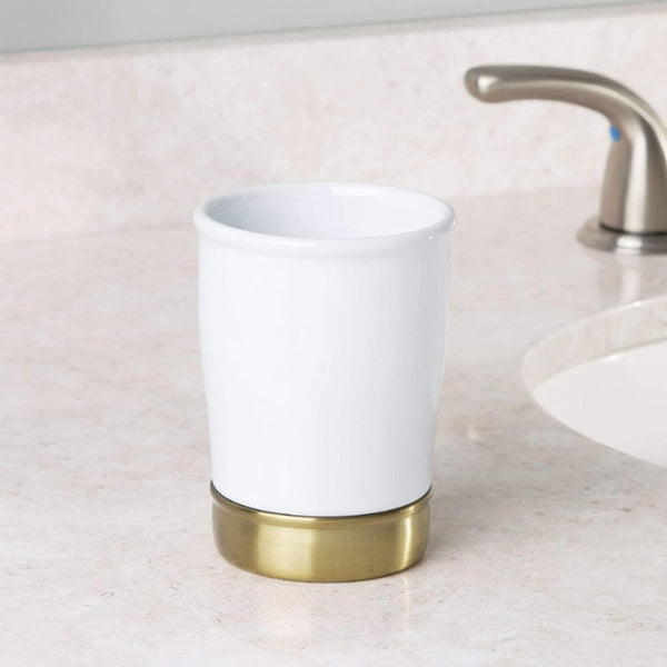 York Bathroom Tumbler - White Brass