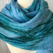 Load image into Gallery viewer, Handmade Silk Scarf - Aqua x Teal