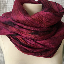 Load image into Gallery viewer, Handmade Silk Scarf - Wine x Black