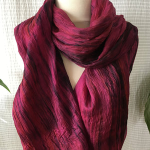 Handmade Silk Scarf - Wine x Black