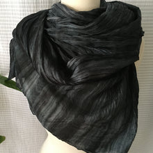 Load image into Gallery viewer, Handmade Silk Scarf - Charcoal x Black