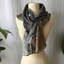 Load image into Gallery viewer, Handmade Silk Scarf - Gray x Ochre