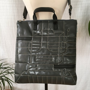Premium Collection | Faux Leather Bag with Robot Stitch Accent | Gray x Black