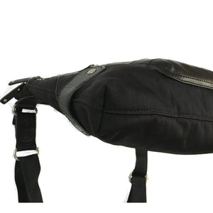 Finn - New Medium Leather & Nylon Mix Bag | Black