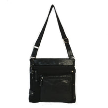 Load image into Gallery viewer, Finn - New Medium Leather & Nylon Mix Bag | Black