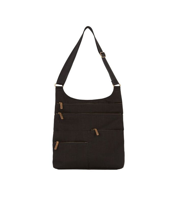 Lucy - Large Multi-Pocket | Black & Brass Zipper