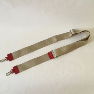 Nylon x Leather Strap | Ivory x Red