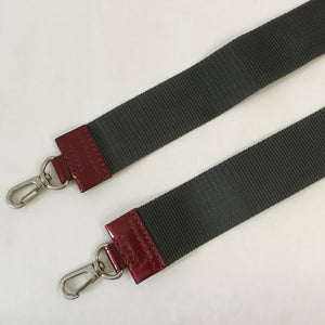 Nylon x Patent Leather Strap | Grey x Red