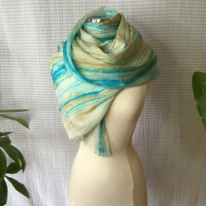 Handmade Silk Scarf - Turquoise x Light Taupe