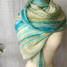 Load image into Gallery viewer, Handmade Silk Scarf - Turquoise x Light Taupe