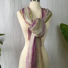 Load image into Gallery viewer, Handmade Silk Scarf - Purple x Lime