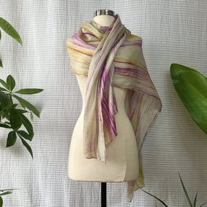 Handmade Silk Scarf - Purple x Lime
