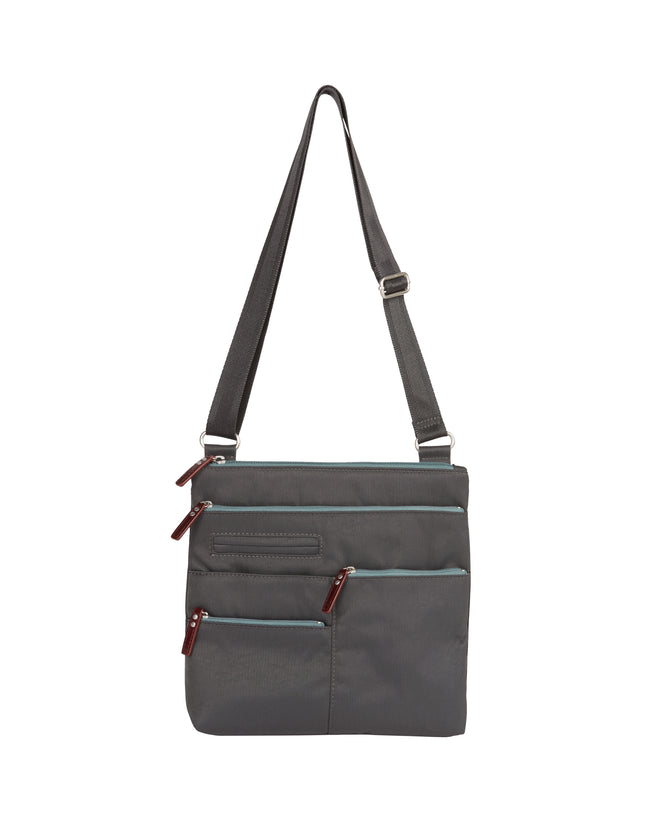Nico - Small Multi - Pocket Bag / Rock Grey & Azure & Red