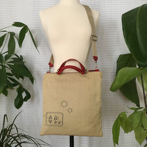 Premium Collection | Nylon Bag with Pony-Diamond Embroidery Accent | Ivory x Red