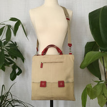 Load image into Gallery viewer, Premium Collection | Nylon Bag with Pony-Diamond Embroidery Accent | Ivory x Red