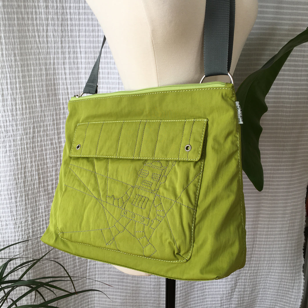Premium Collection | Nylon Shoulder Bag with Robot Stitch Accent | Lime