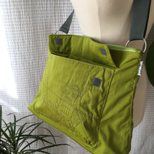 Load image into Gallery viewer, Premium Collection | Nylon Shoulder Bag with Robot Stitch Accent | Lime