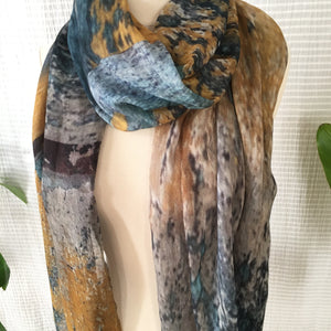 Ochre x Azure Abstract Scarf