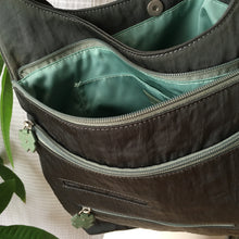 Load image into Gallery viewer, Premium Collection | Original Leather Flower Zipper Pull Series | Large Curved-Top Cross-Body Nylon Multi-Pocket Bag | Grey x Sage