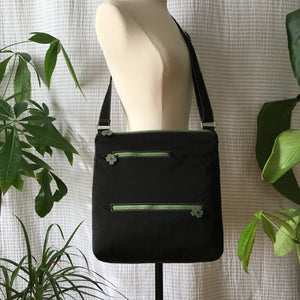 Premium Collection | Original Leather Flower Zipper Pull Series | Large Cross-Body Nylon Multi-Pocket Bag | Black x Green