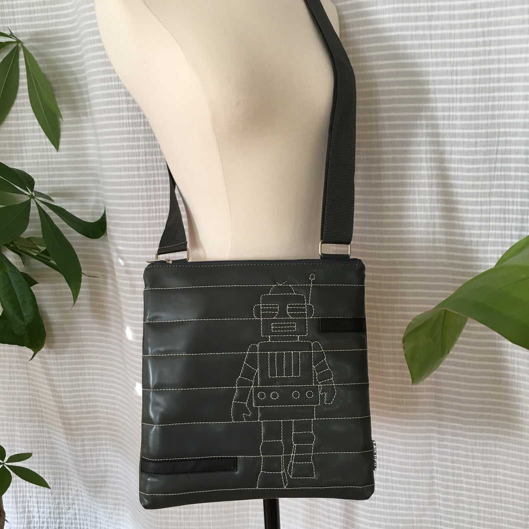 Premium Collection | Small Faux Leather Bag with Robot Stitch Accent | Gray