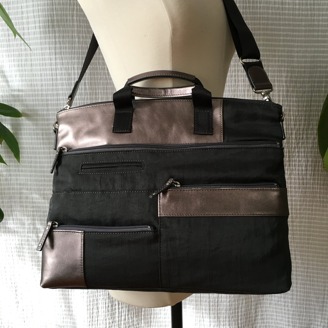 Proto-Bo Nylon x Leather Accent Multi-Pocket Bag | Charcoal x Silver