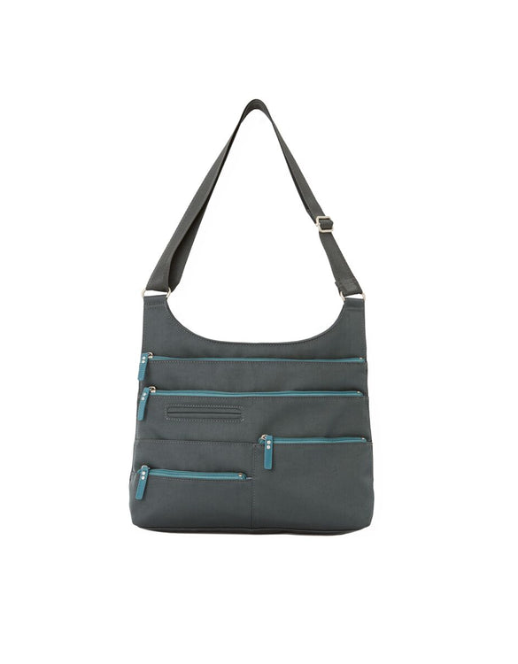 Teela - Medium Multi-Pocket Bag | Midnight Gray & Azure