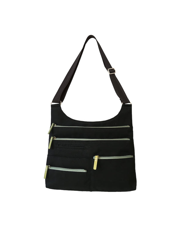 Teela - Medium Multi-Pocket Bag | Black & Sage