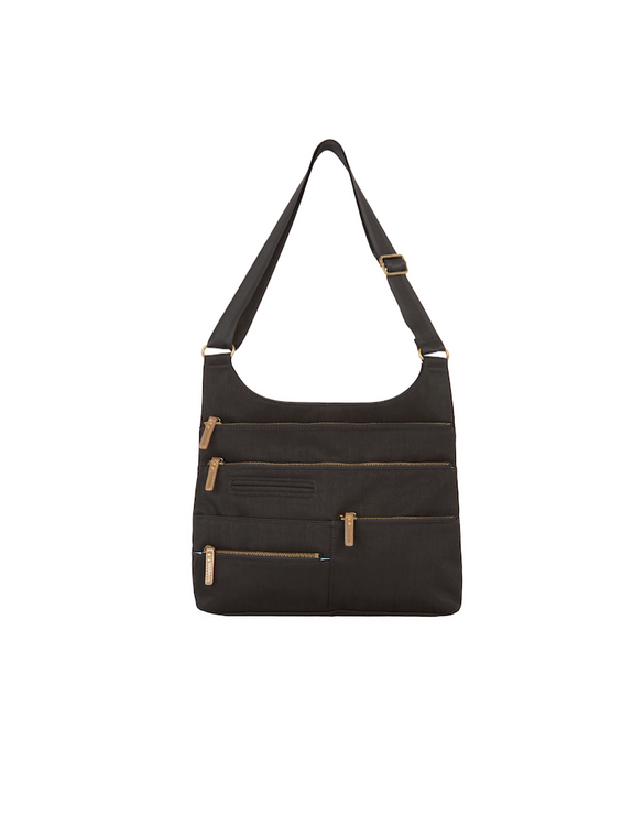 Teela - Medium Multi-Pocket Bag | Black & Brass Zipper